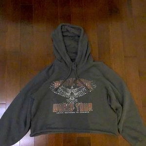 Hollister gray cropped hoodie